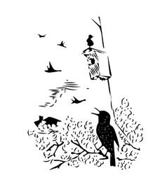 bird sitting on branch under nesting box vector image