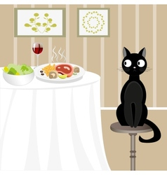 Black cat looking for food vector image