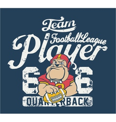 Bulldog football player vector image vector image