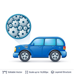 car and gears vector image vector image