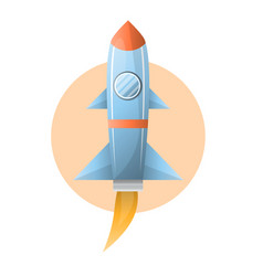 flying grey space rocket on circle against white vector image vector image