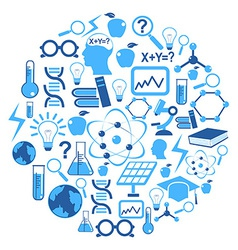 science icons in circle vector image vector image
