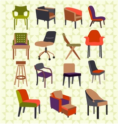 Set icons of chairs - vector image