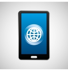 smartphone global social network media icon vector image vector image