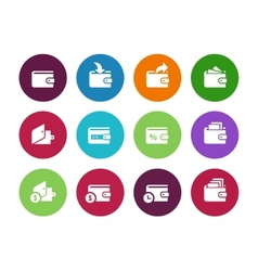 Wallet circle icons on white background vector image