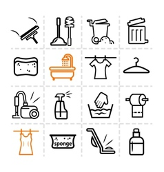 washing icons vector image vector image