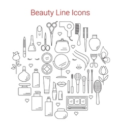 Beauty Cosmetic and Makeup Line Icons Set vector image