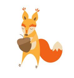 cartoon cute squirrel animal vector image