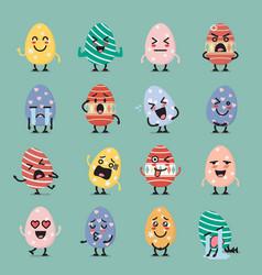easter egg character emoji set vector image