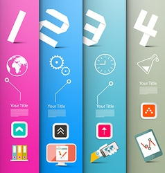 Four Steps Paper Infographics Layout with vector image vector image