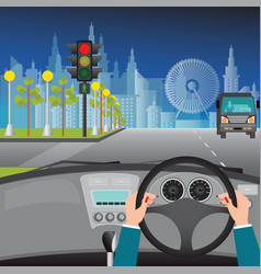 human hands driving a car on asphalt road and vector image