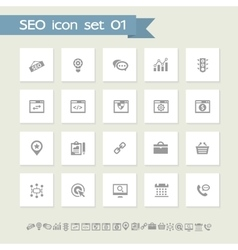 SEO icons set 1 Simple flat buttons vector image