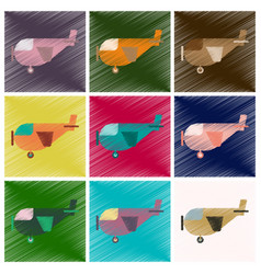 set of flat icons in shading style airplane with vector image
