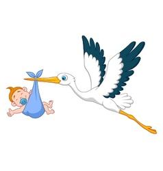 Stork with baby boy cartoon vector image vector image