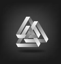 Three silver interlocked triangles vector