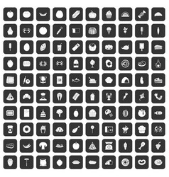 100 favorite food icons set black vector image