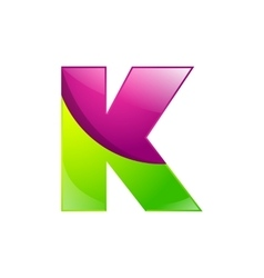 K letter green and pink logo design template vector image vector image