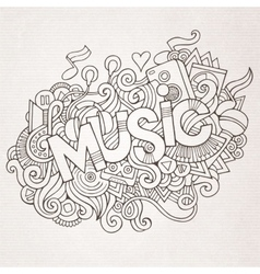 Music hand lettering and doodles elements vector image