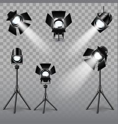 realistic spotlight set vector image vector image