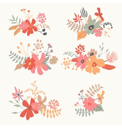 Set of six graphic floral design vector image vector image