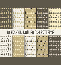 10 different nail polish seamless patterns in vector image