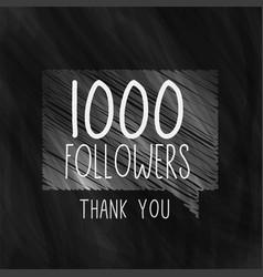1000 social media followers background in black vector