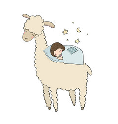 A sleeping girl and a cartoon lama good night vector