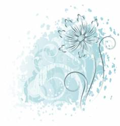 Abstract blue flower and white branches vector