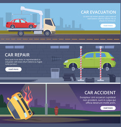 accident road banners urban landscape with vector image