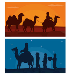 arab with camels on desert vector image