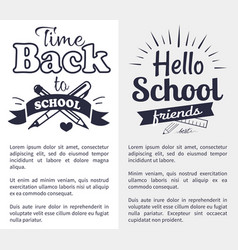 back to school time sticker with text on white vector image