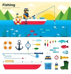 Banner Fisherman on Lake Items Fishing Icon Set vector image