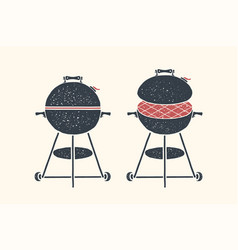 barbecue grill poster bbq barbecue grill tools vector image