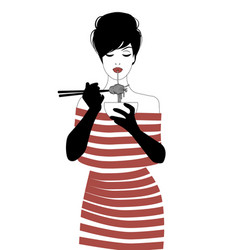 Beautiful girl wearing striped clothes and black vector
