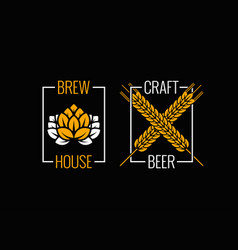 beer logo set design background vector image