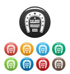 beer western saloon icons set color vector image