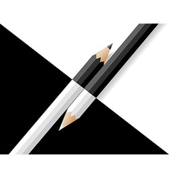 Black and white pencils lie on a and white vector
