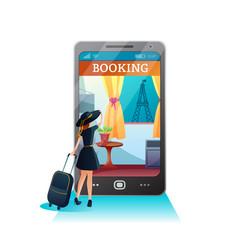 Booking hotel online flat vector