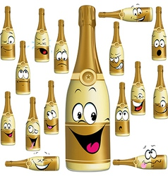 Bottle of Champagne funny cartoon vector image