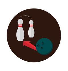 Bowling ball and pins with arrow game recreational vector
