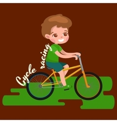 Boy cycling racing kids sport physical activity vector