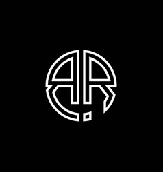 br monogram logo circle ribbon style outline vector image