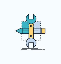 Build design develop sketch tools flat icon green vector
