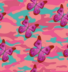 butterfly on pink military background pattern vector image