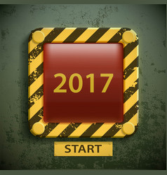 button with the inscription 2017 new year concept vector image