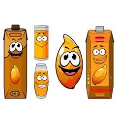 Cartoon funny fresh mango juice characters vector image