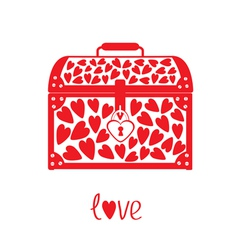 Chest vase with hearts Love card vector