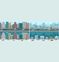 city panorama downtown suburb town on road cute vector image
