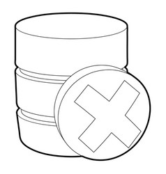 Closed database icon outline style vector