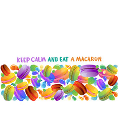 colorful french macaron cookies with drops vector image
